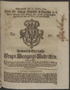 Wochentlich-Stettinische Frag- und Anzeigungs-Nachrichten. 1754 No. 17 + Anhang