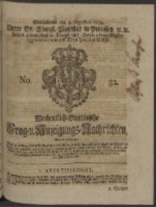 Wochentlich-Stettinische Frag- und Anzeigungs-Nachrichten. 1754 No. 32 + Anhang