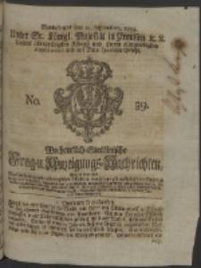 Wochentlich-Stettinische Frag- und Anzeigungs-Nachrichten. 1754 No. 39 + Anhang