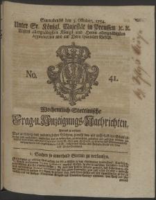 Wochentlich-Stettinische Frag- und Anzeigungs-Nachrichten. 1754 No. 41 + Anhang