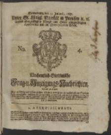 Wochentlich-Stettinische Frag- und Anzeigungs-Nachrichten. 1757 No. 4 + Anhang