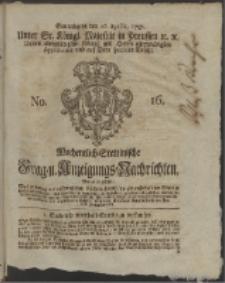 Wochentlich-Stettinische Frag- und Anzeigungs-Nachrichten. 1757 No. 16 + Anhang