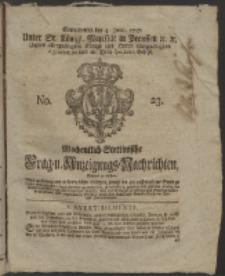 Wochentlich-Stettinische Frag- und Anzeigungs-Nachrichten. 1757 No. 23 + Anhang