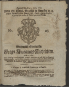 Wochentlich-Stettinische Frag- und Anzeigungs-Nachrichten. 1757 No. 28 + Anhang