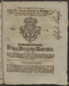 Wochentlich-Stettinische Frag- und Anzeigungs-Nachrichten. 1760 No. 2 + Anhang