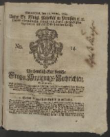 Wochentlich-Stettinische Frag- und Anzeigungs-Nachrichten. 1760 No. 14 + Anhang
