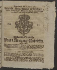 Wochentlich-Stettinische Frag- und Anzeigungs-Nachrichten. 1760 No. 21 + Anhang