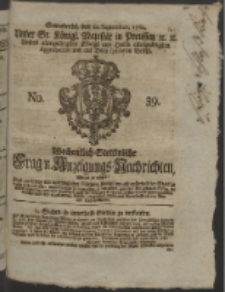 Wochentlich-Stettinische Frag- und Anzeigungs-Nachrichten. 1760 No. 39