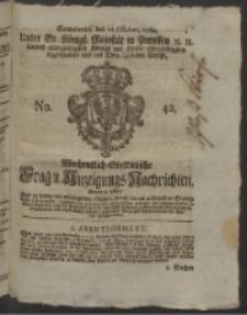 Wochentlich-Stettinische Frag- und Anzeigungs-Nachrichten. 1760 No. 42