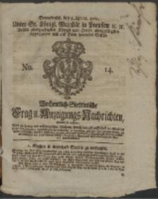 Wochentlich-Stettinische Frag- und Anzeigungs-Nachrichten. 1761 No. 14 + Anhang