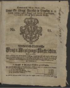 Wochentlich-Stettinische Frag- und Anzeigungs-Nachrichten. 1761 No. 22 + Anhang