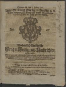 Wochentlich-Stettinische Frag- und Anzeigungs-Nachrichten. 1761 No. 27 + Anhang