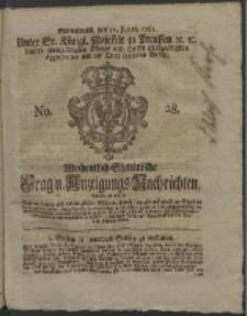 Wochentlich-Stettinische Frag- und Anzeigungs-Nachrichten. 1761 No. 28 + Anhang