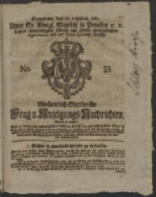 Wochentlich-Stettinische Frag- und Anzeigungs-Nachrichten. 1761 No. 33 + Anhang