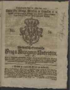Wochentlich-Stettinische Frag- und Anzeigungs-Nachrichten. 1761 No. 34 + Anhang
