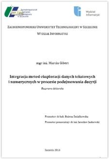 Integracja metod eksploracji danych tekstowych i numerycznych w procesie podejmowania decyzji
