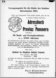 Adress- und Geschäfts-Handbuch für Stettin : nach amtlichen Quellen zusammengestellt. 1904