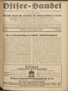 Ostsee-Handel : Wirtschaftszeitschrift für der Wirtschaftsgebiet des Gaues Pommern und der Ostsee und Südostländer. Jg. 7, 1927 Nr. 21