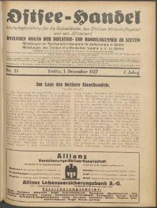 Ostsee-Handel : Wirtschaftszeitschrift für der Wirtschaftsgebiet des Gaues Pommern und der Ostsee und Südostländer. Jg. 7, 1927 Nr. 23