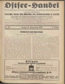 Ostsee-Handel : Wirtschaftszeitschrift für der Wirtschaftsgebiet des Gaues Pommern und der Ostsee und Südostländer. Jg. 7, 1927 Nr. 24
