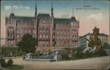 Stettin, Manzelbrunnen und Rathaus