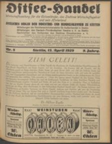 Ostsee-Handel : Wirtschaftszeitschrift für der Wirtschaftsgebiet des Gaues Pommern und der Ostsee und Südostländer. Jg. 9, 1929 Nr. 8