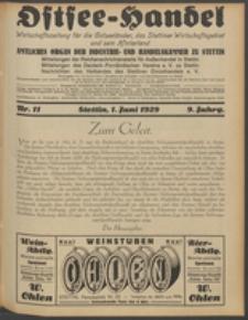 Ostsee-Handel : Wirtschaftszeitschrift für der Wirtschaftsgebiet des Gaues Pommern und der Ostsee und Südostländer. Jg. 9, 1929 Nr. 11