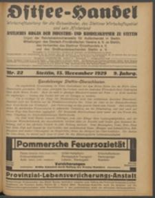Ostsee-Handel : Wirtschaftszeitschrift für der Wirtschaftsgebiet des Gaues Pommern und der Ostsee und Südostländer. Jg. 9, 1929 Nr. 22