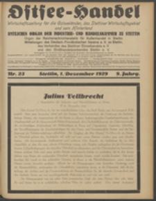 Ostsee-Handel : Wirtschaftszeitschrift für der Wirtschaftsgebiet des Gaues Pommern und der Ostsee und Südostländer. Jg. 9, 1929 Nr. 23