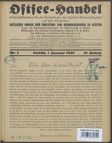 Ostsee-Handel : Wirtschaftszeitschrift für der Wirtschaftsgebiet des Gaues Pommern und der Ostsee und Südostländer. Jg. 10, 1930 Nr. 1