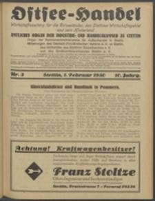 Ostsee-Handel : Wirtschaftszeitschrift für der Wirtschaftsgebiet des Gaues Pommern und der Ostsee und Südostländer. Jg. 10, 1930 Nr. 3
