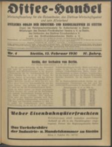 Ostsee-Handel : Wirtschaftszeitschrift für der Wirtschaftsgebiet des Gaues Pommern und der Ostsee und Südostländer. Jg. 10, 1930 Nr. 4
