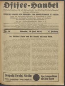 Ostsee-Handel : Wirtschaftszeitschrift für der Wirtschaftsgebiet des Gaues Pommern und der Ostsee und Südostländer. Jg. 10, 1930 Nr. 14