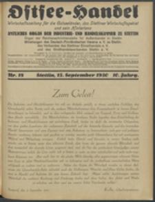 Ostsee-Handel : Wirtschaftszeitschrift für der Wirtschaftsgebiet des Gaues Pommern und der Ostsee und Südostländer. Jg. 10, 1930 Nr. 18