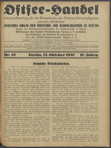 Ostsee-Handel : Wirtschaftszeitschrift für der Wirtschaftsgebiet des Gaues Pommern und der Ostsee und Südostländer. Jg. 10, 1930 Nr. 20