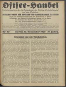 Ostsee-Handel : Wirtschaftszeitschrift für der Wirtschaftsgebiet des Gaues Pommern und der Ostsee und Südostländer. Jg. 10, 1930 Nr. 22