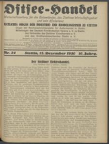 Ostsee-Handel : Wirtschaftszeitschrift für der Wirtschaftsgebiet des Gaues Pommern und der Ostsee und Südostländer. Jg. 10, 1930 Nr. 24