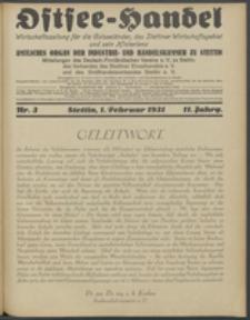 Ostsee-Handel : Wirtschaftszeitschrift für der Wirtschaftsgebiet des Gaues Pommern und der Ostsee und Südostländer. Jg. 11, 1931 Nr. 3