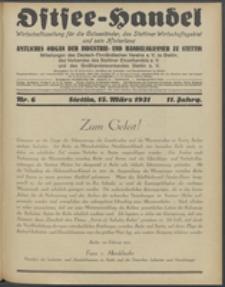 Ostsee-Handel : Wirtschaftszeitschrift für der Wirtschaftsgebiet des Gaues Pommern und der Ostsee und Südostländer. Jg. 11, 1931 Nr. 6