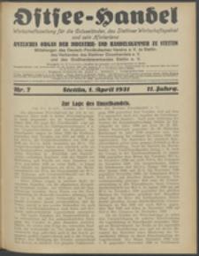 Ostsee-Handel : Wirtschaftszeitschrift für der Wirtschaftsgebiet des Gaues Pommern und der Ostsee und Südostländer. Jg. 11, 1931 Nr. 7