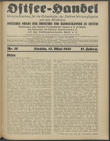 Ostsee-Handel : Wirtschaftszeitschrift für der Wirtschaftsgebiet des Gaues Pommern und der Ostsee und Südostländer. Jg. 11, 1931 Nr. 10