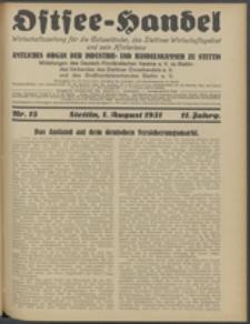 Ostsee-Handel : Wirtschaftszeitschrift für der Wirtschaftsgebiet des Gaues Pommern und der Ostsee und Südostländer. Jg. 11, 1931 Nr. 15