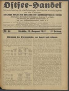Ostsee-Handel : Wirtschaftszeitschrift für der Wirtschaftsgebiet des Gaues Pommern und der Ostsee und Südostländer. Jg. 11, 1931 Nr. 16