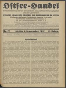 Ostsee-Handel : Wirtschaftszeitschrift für der Wirtschaftsgebiet des Gaues Pommern und der Ostsee und Südostländer. Jg. 11, 1931 Nr. 17