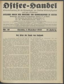 Ostsee-Handel : Wirtschaftszeitschrift für der Wirtschaftsgebiet des Gaues Pommern und der Ostsee und Südostländer. Jg. 11, 1931 Nr. 19