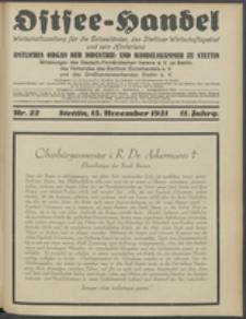 Ostsee-Handel : Wirtschaftszeitschrift für der Wirtschaftsgebiet des Gaues Pommern und der Ostsee und Südostländer. Jg. 11, 1931 Nr. 22