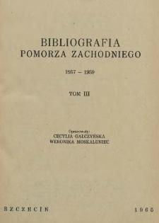 Bibliografia Pomorza Zachodniego. T.3, 1957-1959