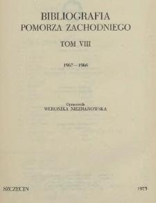Bibliografia Pomorza Zachodniego. T.8, 1967-1968
