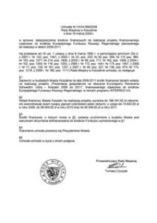 Uchwała Rady Miejskiej w Koszalinie nr XXXII/369/2009