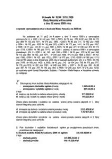 Uchwała Rady Miejskiej w Koszalinie nr XXXII/370/2009